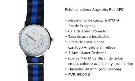 Reloj de pulsera Angelote. Ref. AP01